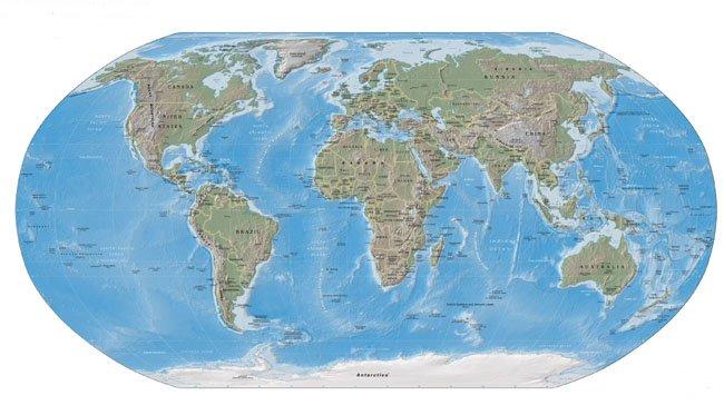 2004年美国中央情报局《世界概况》中使用的世界地图