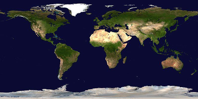 一个使用简易圆柱投影法组合卫星照片形成的地球表面地形图